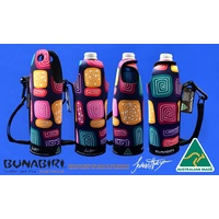 Bunabiri Aboriginal Art Neoprene Water Bottle Cooler - Water Forest Country