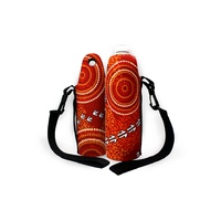 Bunabiri Aboriginal Art Neoprene Water Bottle Cooler - The Dry Season (Red)