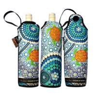 Bunabiri Aboriginal Art Neoprene Wine Bottle Cooler - Colours of the Reef
