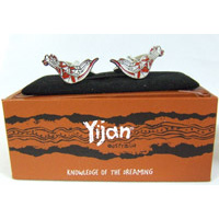 Yijan Aboriginal design Cufflinks - Kangaroo (Red)