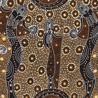 Dancing Spirit [Brown] - Aboriginal design Fabric