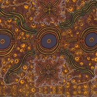 Dreamtime Knowledge (Burgundy)  - Aboriginal design Fabric