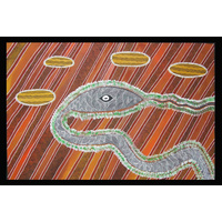 Original Aboriginal Art Stretched Canvas (1.5m x 1m) - Snake Waterhole on Cooper Creek