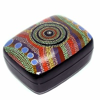 Better World Aboriginal Art Lacquered Large Trinket Box - Rainbow at the Rockhole
