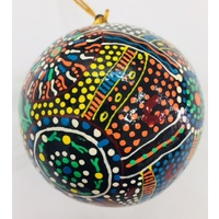 Aboriginal Art design Lacquered Xmas Ball - Freedom Ride