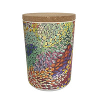 Utopia Aboriginal Art Bamboo Fibre Cannister (Large) - Firesparks