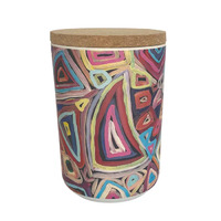 Utopia Aboriginal Art Bamboo Fibre Cannister (Large) - Untitled