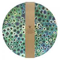 Utopia Aboriginal Art Bamboo Dinner Plate Set (4) - Soakage (Green)