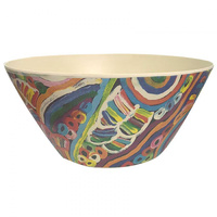Utopia Aboriginal Art Bamboo Salad Bowl - My Mother's Country