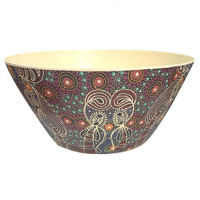 Utopia Aboriginal Art Bamboo Salad Bowl - Dreamtime Sisters