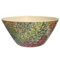 Utopia Aboriginal Art Bamboo Salad Bowl - Fire Sparks