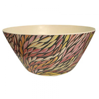 Utopia Aboriginal Art Bamboo Salad Bowl - Wild Flowers