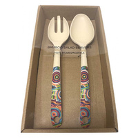 Utopia Aboriginal Art Bamboo Salad Servers - My Mother's Country