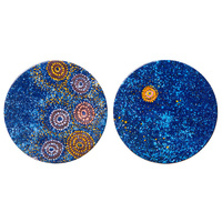 Warlukurlangu Aboriginal Art Ceramic Coaster Set (2) - Seven Sisters Dreaming