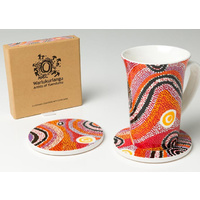 Warlukurlangu Ceramic Coaster Set (2) - Fire Dreaming