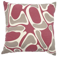 Outstations Aboriginal Art Cotton Canvas Cushion Cover - Bush Potato (Salmon)