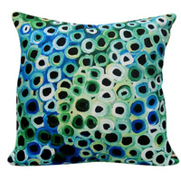 Soakage (Green) - Utopia Aboriginal Art Poly-Linen Cushion Cover (45cm x 45cm)