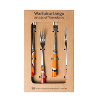 Warlukurlangu Aboriginal Art Dessert/Cake Fork (Set 4) - Two Dogs Dreaming