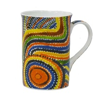 Yijan Aboriginal Art Boxed Bone China Mug - Two Boys Country