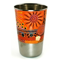 Aboriginal Art Stainless Steel Tumbler - Family & Country