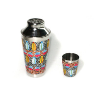 Stainless Steel Aboriginal Art Cocktail Shaker - Tarrkarr Trees