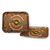 Bunabiri Aboriginal Art Bamboo Fibre Enviro Serving Tray - Colours of the Land