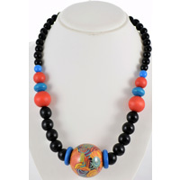 Jijaka Beaded Pendant Necklace (Black Beads) - Firestones