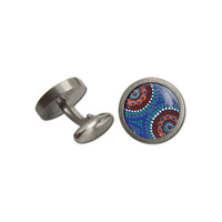 Allegria Stainless Steel Gifboxed Aboriginal Art Cufflinks - Camping Around Waterholes