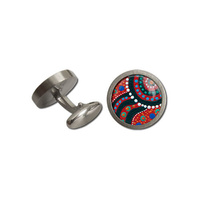 Allegria Stainless Steel Giftboxed Aboriginal Art Cufflinks - Swimming After Rain