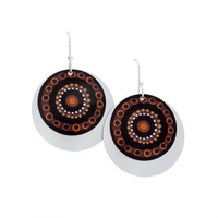 Handmade Aboriginal Art 2pce Aluminium Earrings - Hunting