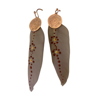 Aboriginal Art Handpainted Feather Earrings - Beige Feather