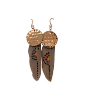 Aboriginal Art Handpainted Feather Earrings - Beige Feather (2)