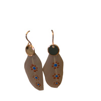 Aboriginal Art Handpainted Feather Earrings - Beige Feather (3 Circle)