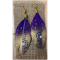 Aboriginal Art Handpainted Feather Earrings - Purple/Gold