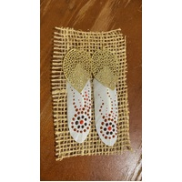 Aboriginal Art Handpainted Feather Earrings - White Feather (5)