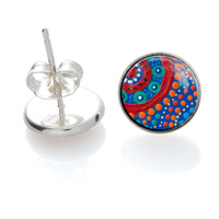 Family Picking Wildflowers - Handmade Aboriginal Art Sterling Silver Earrings [Stud]
