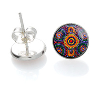 Sisters Picking Wildflowers - Handmade Aboriginal Art Sterling Silver Earrings [Stud]