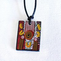 Handmade Aboriginal Art Ceramic Pendant - Amata Creation Story