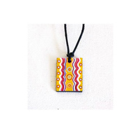 Handmade Aboriginal Art Ceramic Pendant - Rainbow Serpent Dreaming