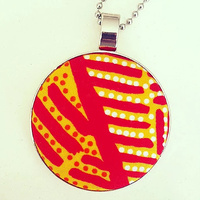 Aboriginal design Fabric Pendant - Body Painting (Gold)