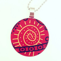 Aboriginal design Fabric Pendant - Bush Tucker (Red)