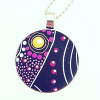 Aboriginal design Fabric Pendant - Dancing Spirit (Purple)