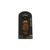 Murra Wolka Aboriginal Art Wooden Pendant in Box - Shield