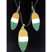 Jijaka Aboriginal Art Jewellery Set - Shield (Green)