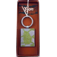 Yijan Aboriginal Art Boxed Metal Keyring - Women Travel Dreaming (Green)