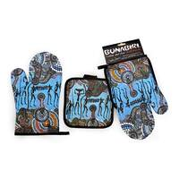 Bunabiri Aboriginal Art Mit/Pot Holder Set - Hunters & Gatherers Reef