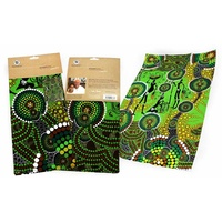 Bunabiri Aboriginal Art Cotton Teatowel - Hunters & Gatherers Rainforest