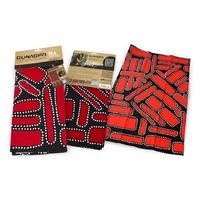 Bunabiri Aboriginal Art Cotton Teatowel - Camp Ground