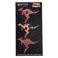 Hogarth Aboriginal Art Flexi Magnet Set (3) - Kangaroo (Black)