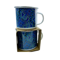 Bulurru Aboriginal Art 9cm Pannikin Mug - On Walkabout (Blue)